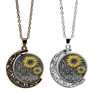 AU4.19 • Buy  You Are My Sunshine   Sunflower Moon & Sun Pendant Necklace Women Jewelry Gifts