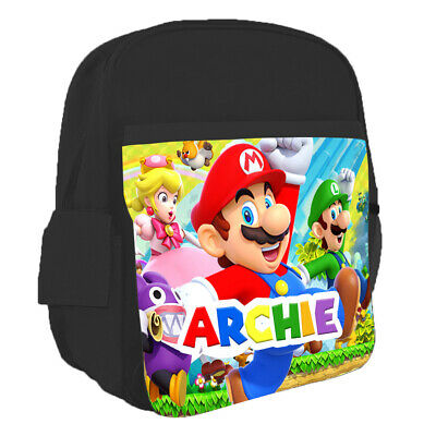 Personalised Kids Backpack Any Name Super Mario Design Children School Bag 5 • 16.99£