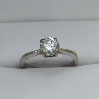 Goldsmiths 18ct White Gold .50 1/2ct Diamond Solitaire Ring Size I • 425£