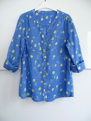 Blue & Yellow Cotton Voile Tab Sleeved Shirt Blouse Size 12 BNWOT • 8.99£