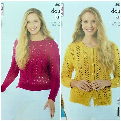 KNITTING PATTERN Ladies Lace Jumper & Cardigan Cottonsoft DK King Cole 5635 • 3.95£