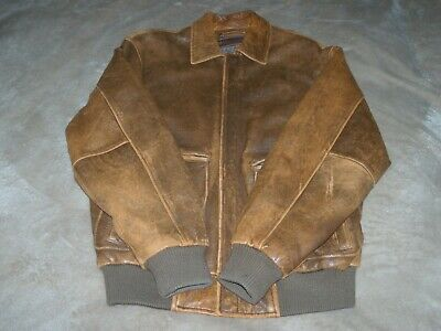 Wilsons Leather Indiana Jones Style Brown Distressed Bomber Jacket (size Med.) • 87£