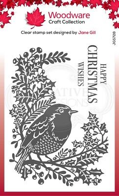 Woodware  - Clear Magic Singles - Christmas - Lino Cut - Robin And Holly • 5.95£