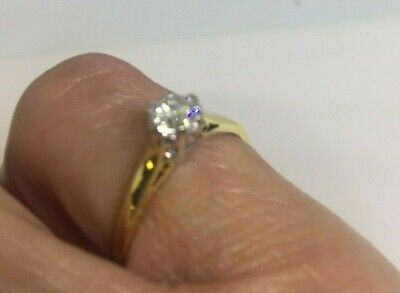 18ct Gold Ladies Pre-owned Solitaire Diamond Ring, Size L • 175£