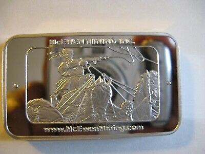 $ CDN300 • Buy Rare 2013  5 Oz McEwen Mining 999 Silver Bar - Mint Condition