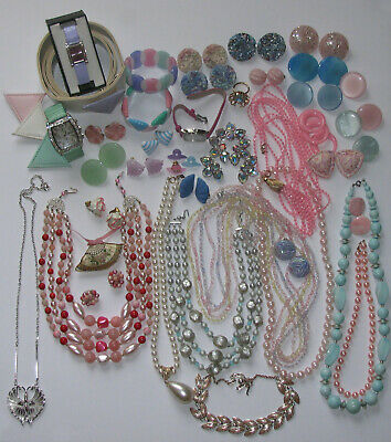 $ CDN149.99 • Buy Vintage Costume Jewelry Necklaces Bracelets ER Belt Watches Some Signed 43PC Mix