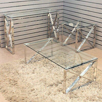 Apex Stainless Steel Tables Clear Glass Top Coffee Table Living Room Furniture • 189.95£