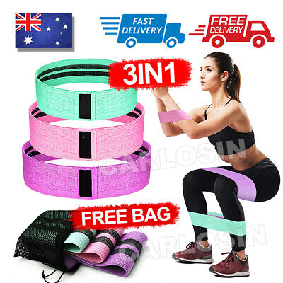 AU18.95 • Buy Resistance Booty Bands Set-3 Hip Circle Loop Bands Workout Exercise Guide & Bag