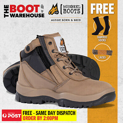 AU147.95 • Buy Mongrel 961060 Work Boots. Soft Toe, Non Safety. STONE Zip-Side PRESS STUD CLIP!