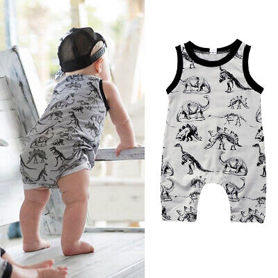 Newborn Toddler Baby Boys Dinosaur Clothes Romper Sleeveless Jumpsuit Outfits • 6.69£