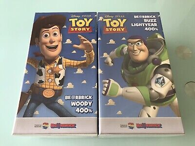 $2500 • Buy 2 Medicom Bearbrick 2015 Disney Toy Story Woody + Buzz Lightyear 400% Be@rbrick