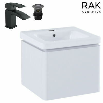 White 500 Wall Hung Mounted Basin Sink Vanity Unit 1 Drawer Bathroom Cabinet • 44.93£