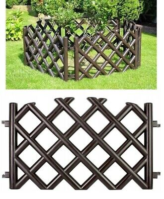 Brown 3.5M Plastic Tall 42cm Garden Fence Panels Fencing Lawn Edging Border • 18.99£