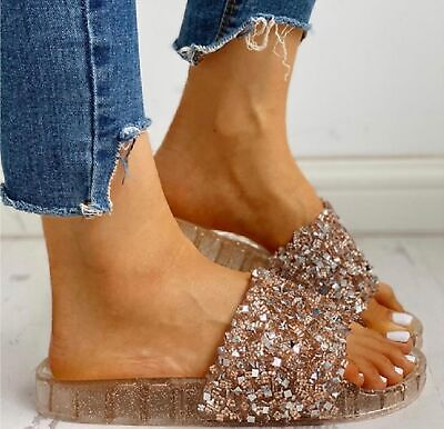 Ladies Summer Beach Holiday Sandals Womens Jelly Sliders Comfy Diamante Shoes Sz • 9.95£