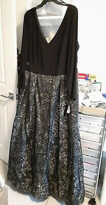 $99.98 • Buy NWT Xscape Damask Dress Black Cutout Ball Gown Embroidered Long Sleeves 18W Plus