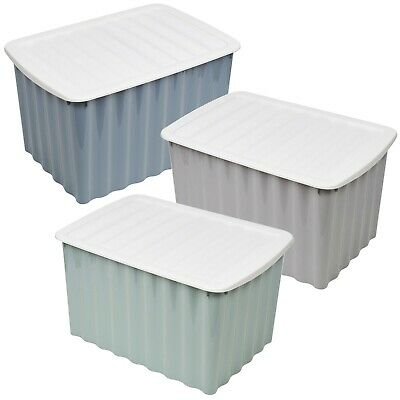 Coloured Plastic Storage Boxes Clip Lid Stacking Nesting Container High Quality • 13.99£
