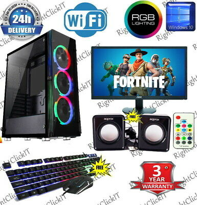 Fast Gaming PC Computer Bundle Intel Quad Core I5 16GB 1TB Win 10 2GB GT710 RGB • 329.99£