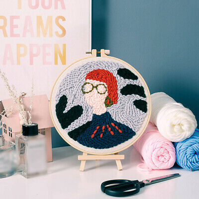 Cross Stitch Embroidery Starter Kit With Plastic Hoop Wall W/ Piercing Needle • 12.59£