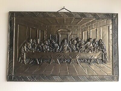 £45 • Buy Vintage Brass Plaque Of Jesus And The Apostles, The Last Supper (39.5 X 25cm)