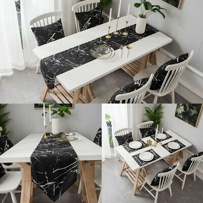 AU21.42 • Buy Table Runner Placemats Marble Pattern Tea Table Cover Kitchen Dining Table Decor