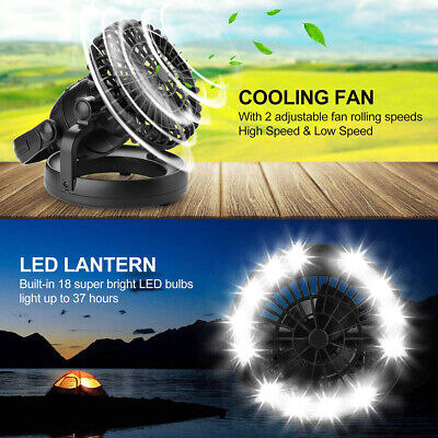 £19.74 • Buy 2in1 Portable 18LED Light Camping Tent Emergency Gear Fan Lamp Equipment Outdoor