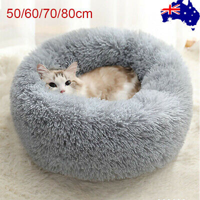 AU25.95 • Buy Dog Pet Cat Calming Bed Beds Large Mat Comfy Puppy Fluffy Donut Cushion Plush