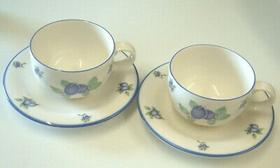 Royal Doulton Everyday Blueberry - Cups And Saucers X2 • 14.99£