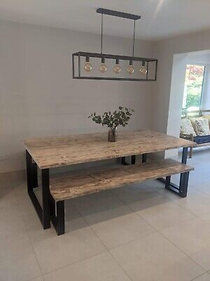 Upcycled Reclaimed Scaffolding Board Dining Table With Industrial Steep Legs • 180£
