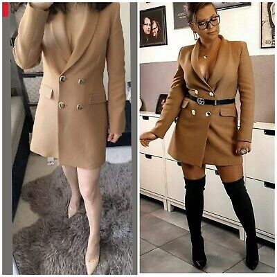 $85 • Buy ZARA DOUBLE BREASTED BUTTONED FROCK COAT L XL Camel Blazer Dress NWT SS20