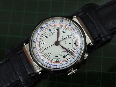 $ CDN1223.31 • Buy Vintage Mens Unver Chronograph Manual Wind Swivel Lugs Fully Restored Rare Watch