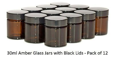 Aura 30ml Amber Glass Jars With Black Lids - Pack Of 12 • 27.99£