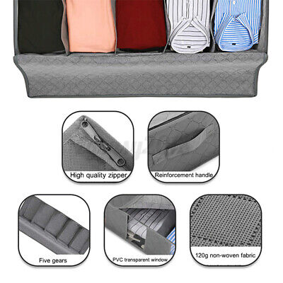 5 Compartments Under Bed Storage Bag Large Capacity Clothes Shoes Organizer Box • 6.50£