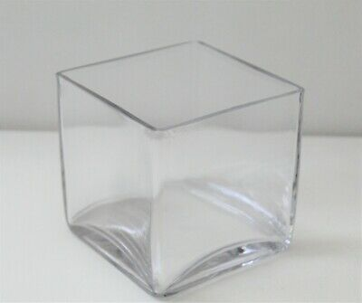 £9.95 • Buy Clear Glass Cube Vase 10.2cm, Heavy Vase With Box, Home Decor, Flower Display