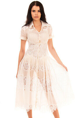 $90.07 • Buy RRP €1390 ZIMMERMANN Fit & Flare Dress Size 0 / XS Lace Insert Short Sleeve