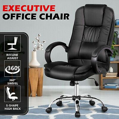 AU119.90 • Buy High Back Executive Office Chair Computer Desk PU Leather Swivel Seat Adjustable