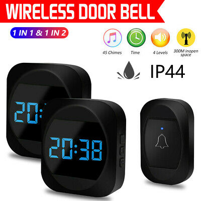 Wireless Doorbell Waterproof Wall Plug-in Door Bell Chime Remote 300M 45 Tunes • 9.99£