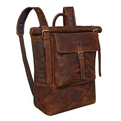 STILORD 'Chris' Leather Backpack Roll Top Men Women For Laptop A4 Size Large ... • 229.99£