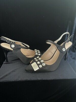 Black Satin Patent Low Heel Silver Gem Diamond Mary Jane Style Size 5 Shoes • 24.95£