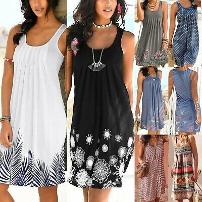 Women BOHO Summer Beach Midi Dress Ladies Sleeveless Sundress Casual PLUS SIZES • 9.97£