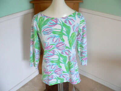 $15.49 • Buy $68 Lilly Pulitzer ANDIE BOATNECK TOP White Pink Green M Medium