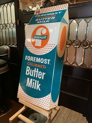 $1195 • Buy 30  FOREMOST Butter Milk Embossed  Tin Advertising Sign  Watch Video