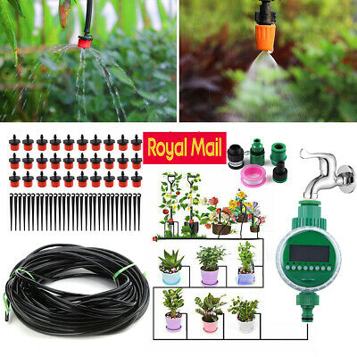 Plant Automatic Drip Irrigation System Kit Timer Self 82ft Watering Garden Hose • 18.99£