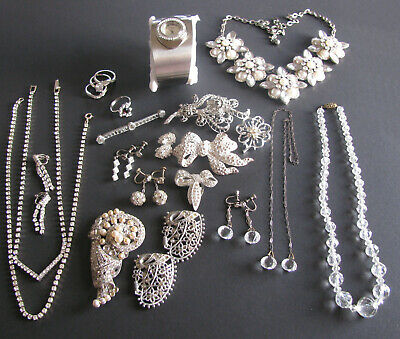 $ CDN149.99 • Buy Vintage Antique Costume Jewelry Silvertone Rhinestone Accents 20PC Most Old