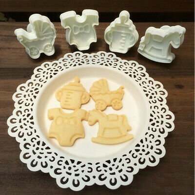 £3 • Buy Fondant Cake 4pcs Cutter Mould Biscuit Mold Baby Shower Clothes Cookies Plunger