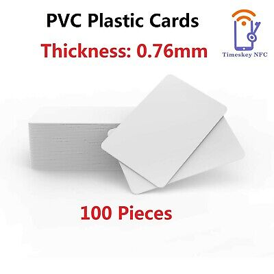 100 Pack - Premium Blank PVC Cards For ID Badge Printers - Graphic Quality Wh... • 25.99£