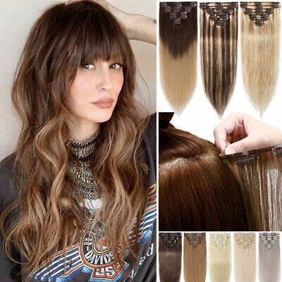 CLEARANCE Russian Clip In Remy Real Human Hair Extensions Full Head 8Pcs Weft UK • 15.29£