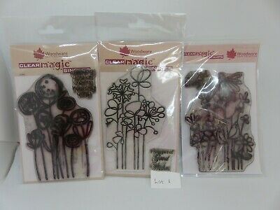 Woodware Clear Magic Funky Floral Stamp Bundle Lot 1 • 2.20£