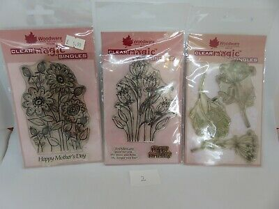 Woodware Clear Magic Gorgeous Floral/Sentiment Stamp Bundle Lot 2 • 4.25£