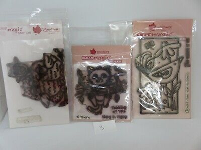 Woodware Clear Magic Funky Owls, Cat, Bird Stamp Bundle Lot 3 • 1.04£