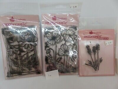 Woodware Clear Magic Floral/Stitched Flowers Poppies/Daisy Stamp Bundle Lot 4 • 3.20£